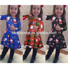 Vestido de traje azul colorido de alta calidad para niños Vestido de niña de Navidad