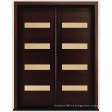 Puertas exteriores de madera maciza de caoba moderna, puerta de entrada moderna