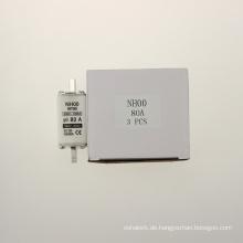 Yumo Nh00 80A Füllrohr mit geschlossenem Rohr Typ HRC Niederspannungs-Sicherungsverbindung