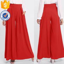 Plisado Zip Up Back pantalones anchos de la pierna Fabricación al por mayor mujeres de la moda Apparel (TA3089P)