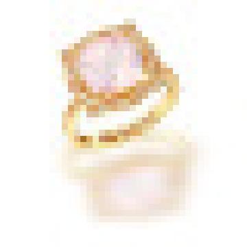 3.20CT Ronda Cut Natural Rose Quartz Rock Crystal Anillos de Cuarzo de Plata de Ley 925 para Las Mujeres de Compromiso de Joyería Fina