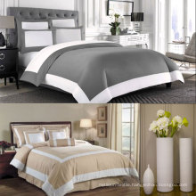 White and Taupe Hotel Duvet Comforter Cover 6PCS Bedding Set (DPFB8086)