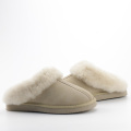 Women's Genuine Suede Leather Warm Sheepskin Slippers