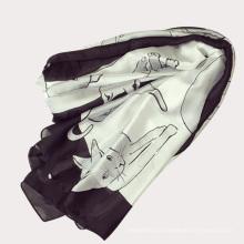 2017 été nouveau design belles femmes belle chat doux imité soie polyester écharpe tissu