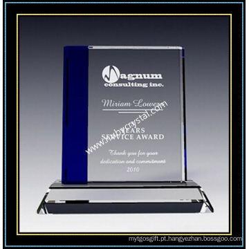 """Placa quadrada do prêmio de cristal de safira 7 """"H (NU-CW713)"""