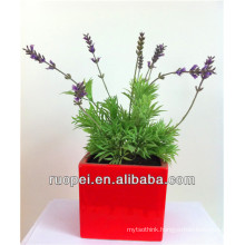 Yiwu Artificial Lavender Flower On Red Pot For Home Decor