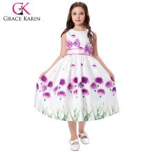 Grace Karin Niños patrón de hierba sin mangas de cuello redondo Bow-Knot Decorado 12 años niña sin vestir los niños Vestido CL008996-1