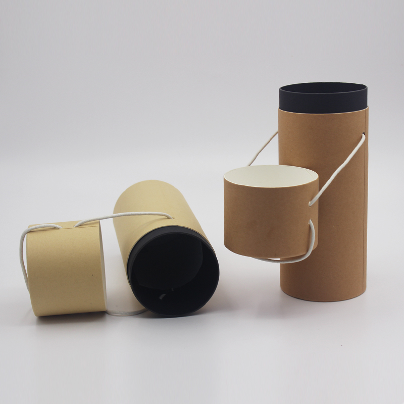 Custom printed cardboard cylinder gift box with lids