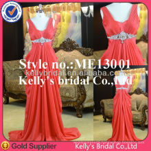 2015 New model pleating red flowing long chiffon evening dress with bead belt Gorgeous Beaded Embroidery Mermaid Evening dress