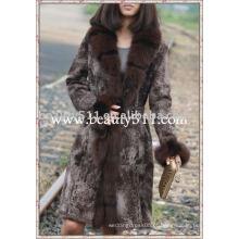 Fah041 OEM atacado de peles de chocolate roupas de peles vestuário coelho pele de vison de peles