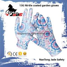 13G Nitrile guante de trabajo de jardín revestido