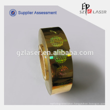 Hologram sticker with hot stamping feature in roll form