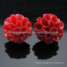 Nutral corol Red Rose Flower Stud Earrings 2013 EF-017