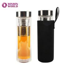 Heißer Verkauf Amazon Geschenk BPA Frei Dicht Doppelwand Glas Tee Infuser Flasche Für Lose Blatt Tee Mit Hülse