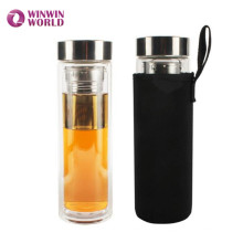 Venta caliente Amazon Gift BPA Free a prueba de fugas vidrio doble pared botella infusor de té para ir té de hojas sueltas con manga