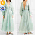 Graceful Green Long Sleeve V-Neck Maxi Summer Dress Manufacture Wholesale Fashion Women Apparel (TA0326D)