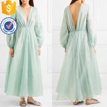 Graciosa manga longa verde com decote em v maxi vestido de verão manufatura grosso moda feminina vestuário (t0326d)