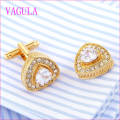 VAGULA Qualidade Hot Sales Ouro Gemelos Zircon Cuff Links (327)
