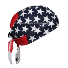 Custom Made Logo Printed Cotton Promotional American Flag Skull Cap Biker Caps Headwrap