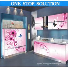 Cabinet de cuisine en 3D brillant en forme de L en forme de L (PLD1503)