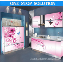 L Shaped Customized High Gloss 3D Print Kitchen Cabinet (PLD1503)