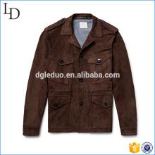 Slim-Fit jaqueta de camurça macia jaqueta de couro por atacado para homens