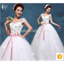 White bridal lace short sleeve long married ball gown princess wedding dress