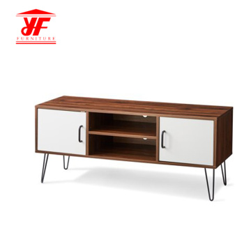Walnut Wood Metal TV-standaard met planken