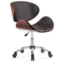 2017 Haiyue Muebles clásico de madera contrachapada de color marrón PU pu silla de ocio silla en forma de concha silla de oficina silla de hotel
