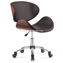 2017 Haiyue Furniture Classical brown plywood black pu leather leisure chair shell shape office chair hotel chair