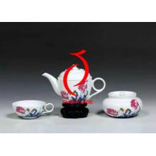 Mano de pintura de flores de alta calidad de cerámica Rose Set de té hecho en China