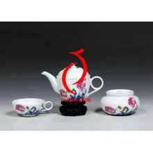 Ручная роспись цветов Высококачественный керамический розовый чайный набор Сделано в Китае