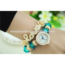 new product2016 trendy cute alloy beads love bracelet watch crystal mineral glass