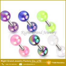 Perles acryliques uniques en acier chirurgical de boule de boucle enduite Tragus piercing bijoux