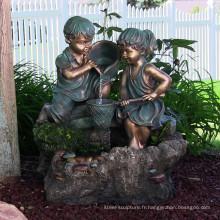 grandes sculptures en plein air métal artisanat garçon et fille bronze sculptures