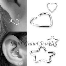 Inox 316L chirurgical acier étoiles en forme de coeur Helix oreille bijoux Piercing