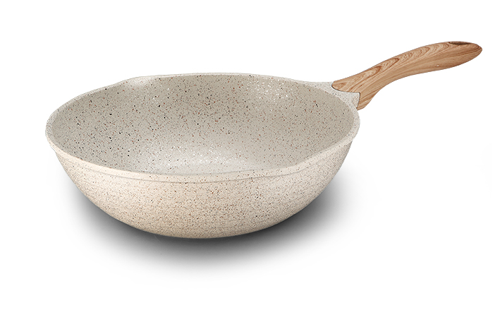 Aluminum Die-casting Wok Pan With Wooden Handle