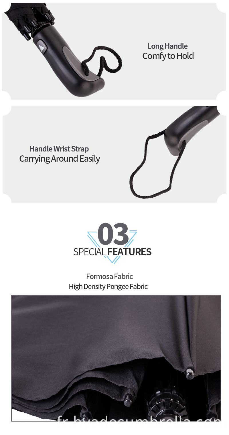 Mens 2 Folding Umbrella Long Handle To Grip