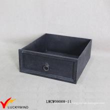 Antike hölzerne französische schwarze Schubladen-Art-Kasten