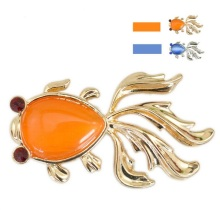 Wholesale Bright Golden Fish Brooch with Enamel