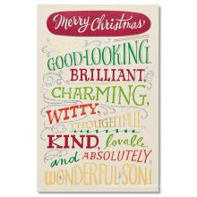 Tarjeta de Navidad del regalo de los saludos para el hijo con la tarjeta del brillo del oro de la hoja