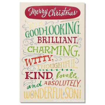 Grüße Geschenk Weihnachtskarte für Sohn mit Folie Gold Glitter Card