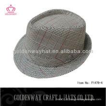 Khaki fedora chapeau souple usine de coton polyester vente en gros plaine pour homme