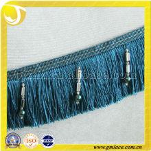 European Style Rayon Perlen Quaste Fransen Hand Stickerei Designs Blau Trimmen Spitze