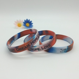 Swirl Color Printed Custom Silicone Bracelets