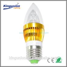 Prix de la lumière des bougies à haute luminosité, lumière de bougie LED en aluminium ou en verre