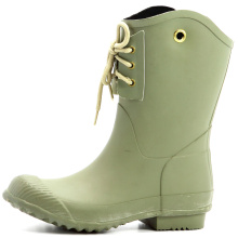 Women Army Style Rubber Rain Boots With Holes Beside