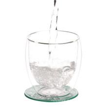 Caneca de vidro de borosilicato de parede dupla para água