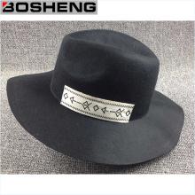 Sombrero de lana negra, sombrero disquete ancho plano