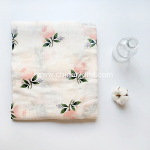 Baby  muslin blanket with rose print